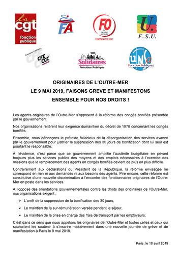 f838359f8b9 ... toutes celles et ceux qui souhaitent les soutenir à s inscrire  massivement dans une nouvelle journée de grève et de manifestation à Paris le  9 mai 2019.