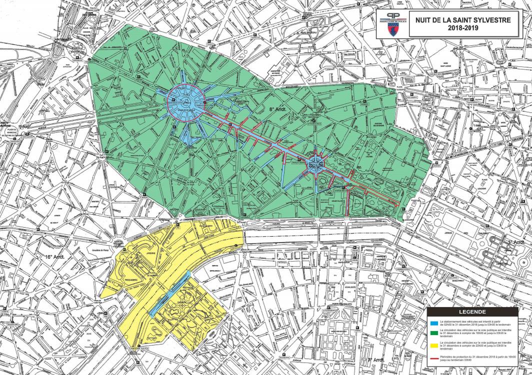 Plan du dispositif de sécurité prévu par la préfecture de police de Paris pour la nuit de la Saint-Sylverstre 2018-2019.