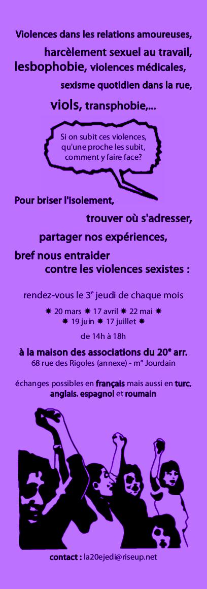 [Paris] permanence d'entraide contre les violences sexiste Ad2a22b8a814e4271193dc8a808b3536